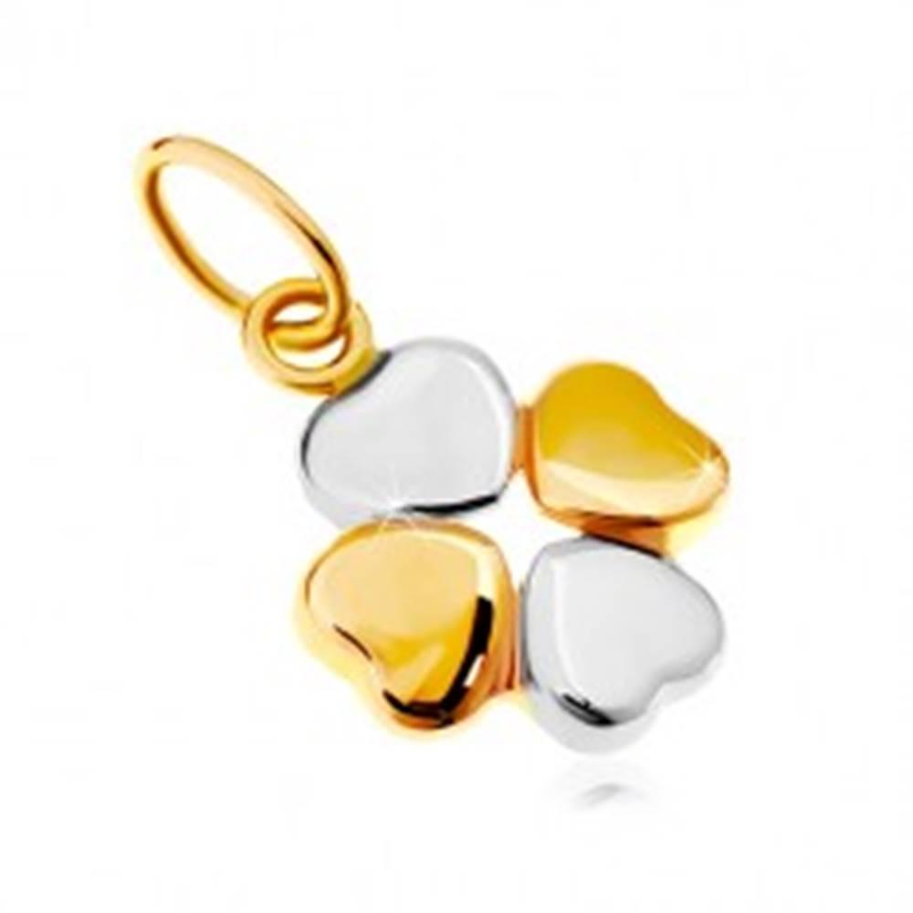Šperky eshop Prívesok v kombinovanom 14K zlate - dvojfarebný štvorlístok pre šťastie