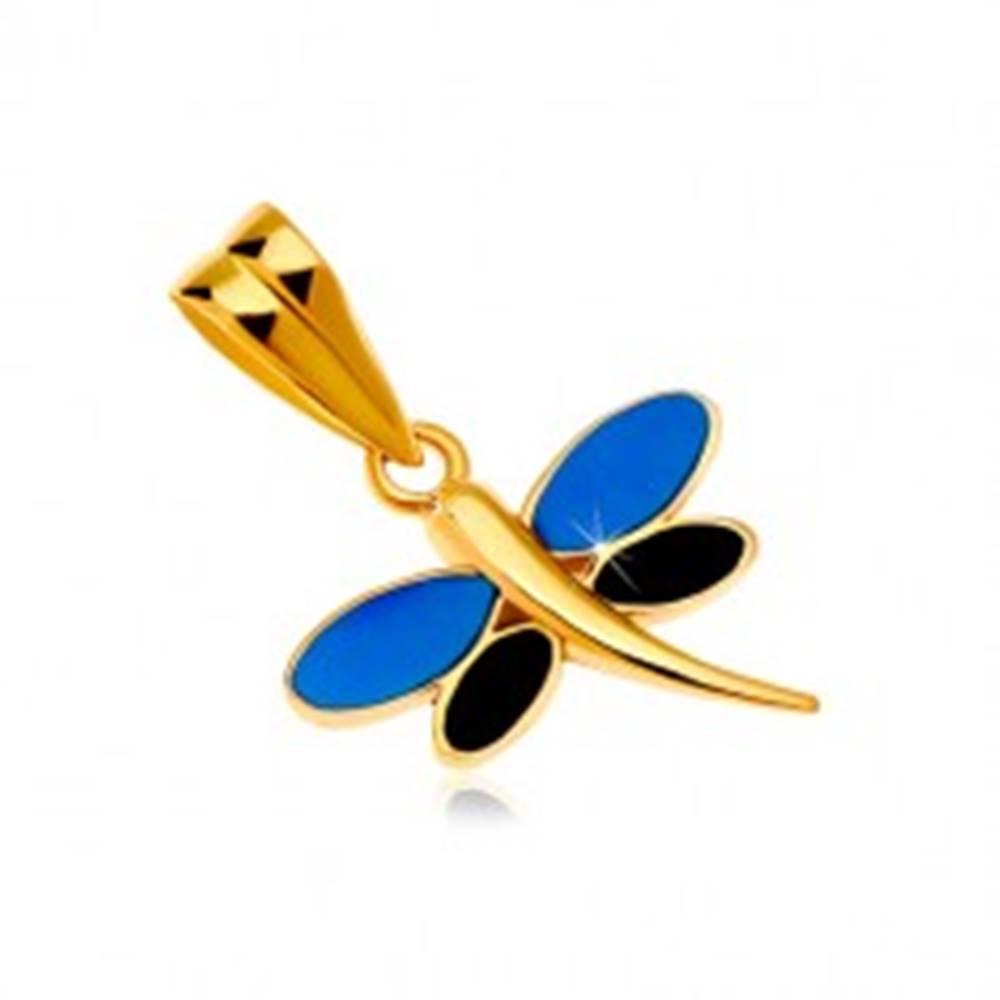 Šperky eshop Prívesok v žltom zlate 585 - vážka s glazúrou modrej a čiernej farby na krídlach