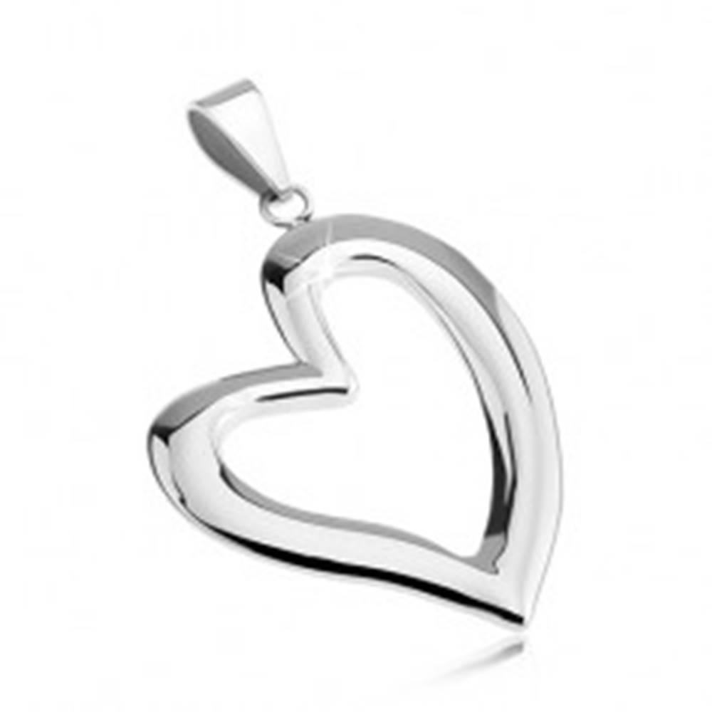 Šperky eshop Prívesok z chirurgickej ocele - asymetrická línia srdca