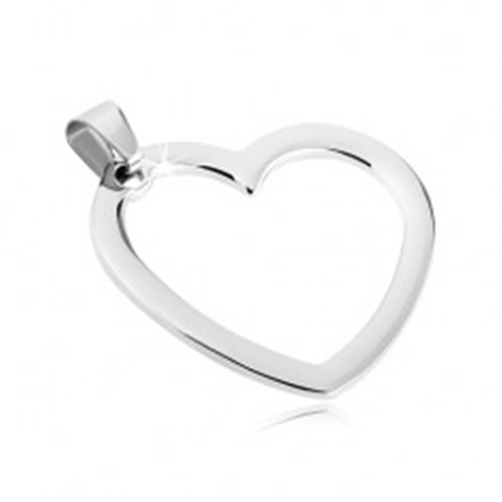 Šperky eshop Prívesok z ocele - jednoduchý obrys srdiečka