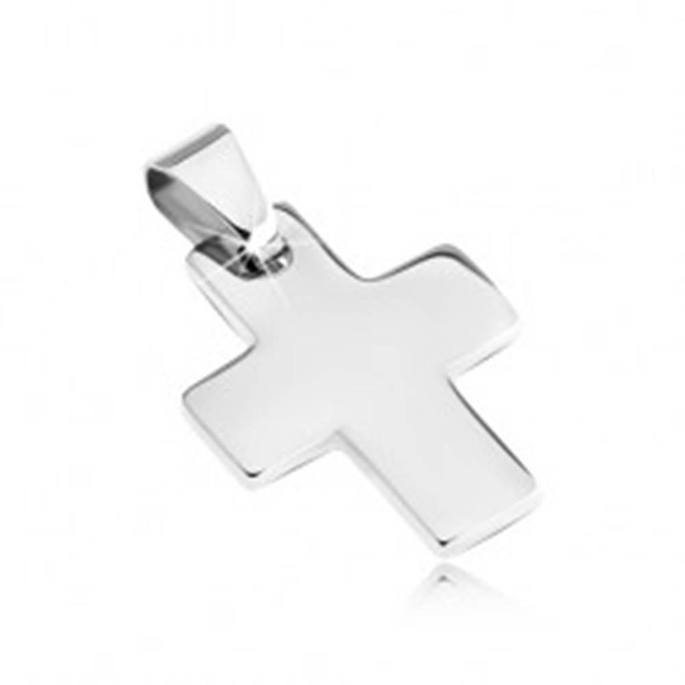 Šperky eshop Prívesok z ocele - lesklý, jednoduchý krížik