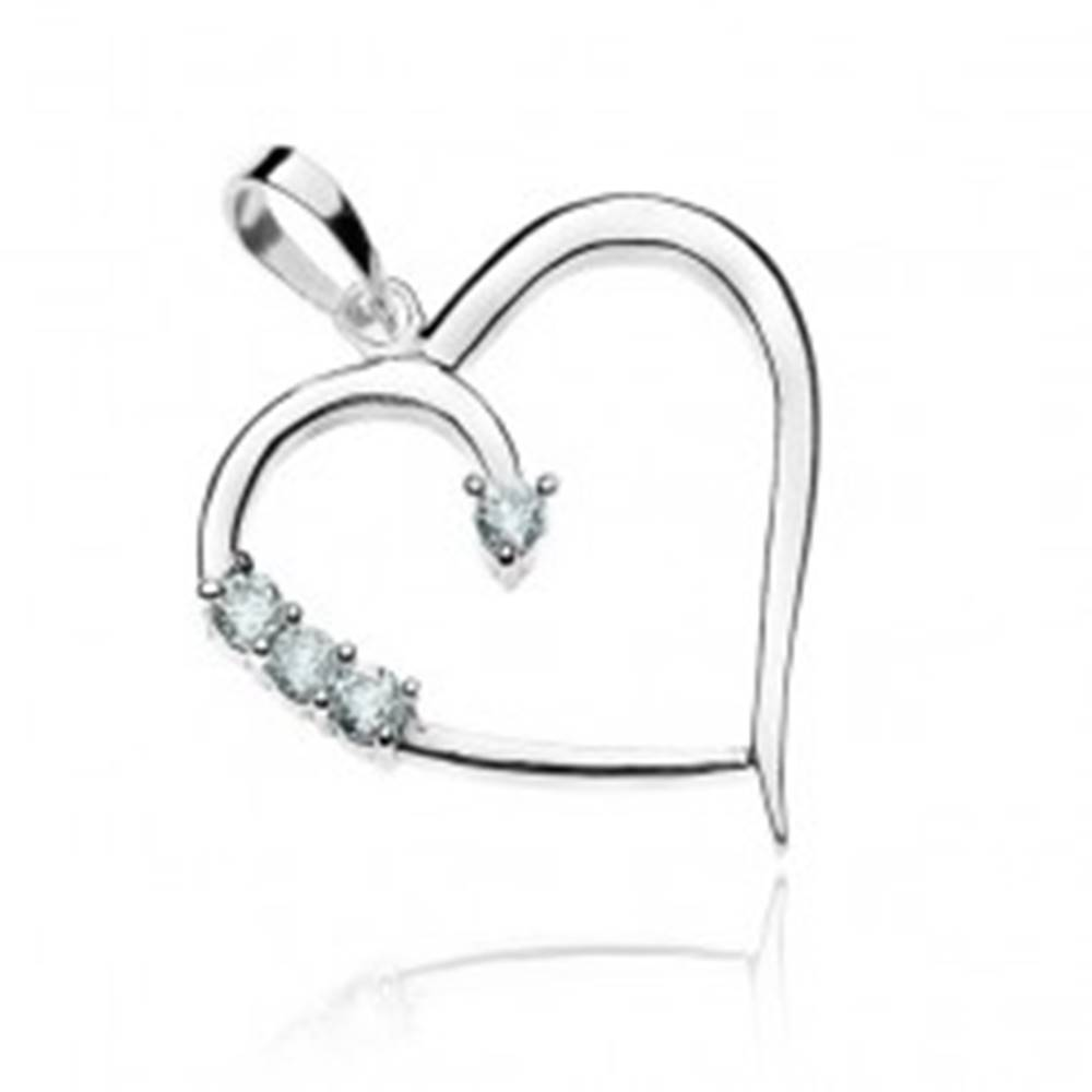 Šperky eshop Prívesok zo striebra 925 - línia srdca a zirkóny