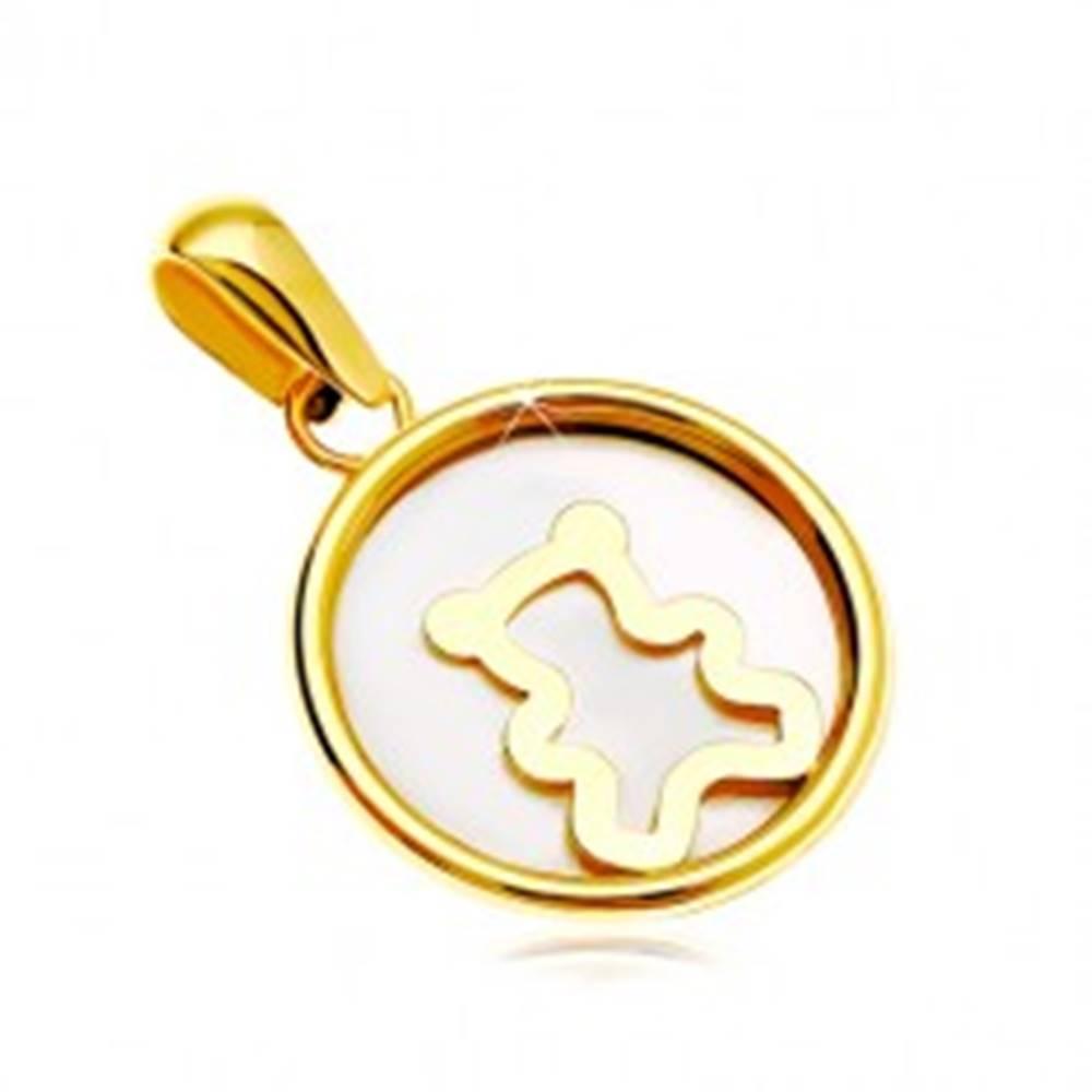 Šperky eshop Prívesok zo žltého 14K zlata - kruh s bielou perleťou a medvedíkom