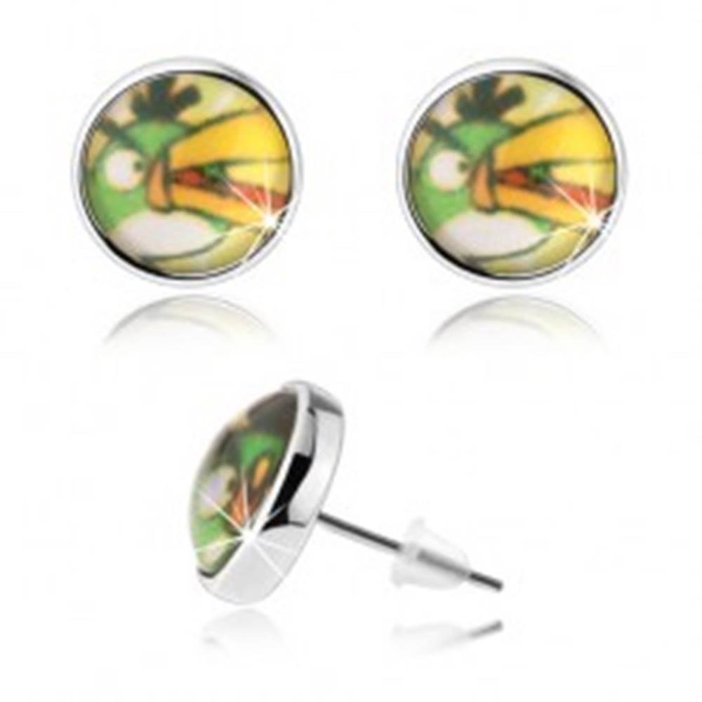 Šperky eshop Puzetové náušnice, motív Angry Birds, zelený vtáčik s oranžovým zobákom