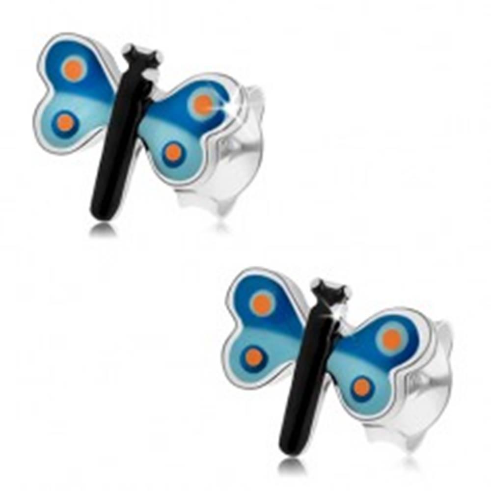 Šperky eshop Puzetové náušnice, striebro 925, glazúrovaný motýľ s modrými krídlami, bodky