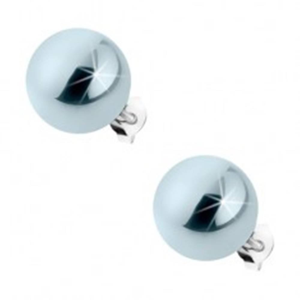 Šperky eshop Puzetové náušnice zo striebra 925, oceľovo sivé guličky s perleťovým leskom, 12 mm