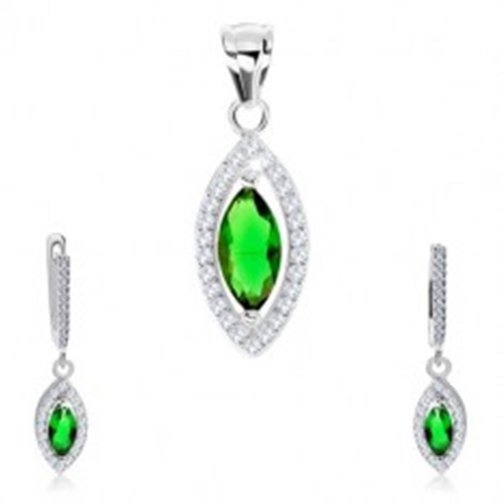 Šperky eshop Set, striebro 925, náušnice a prívesok, zelené zirkónové zrnko, trblietavý lem