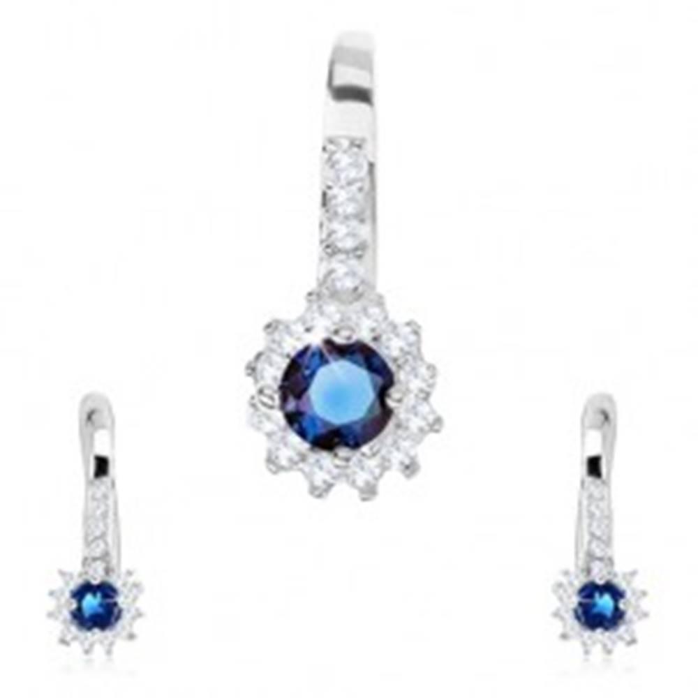Šperky eshop Set zo striebra 925, náušnice a prívesok, slnko - modrý okrúhly zirkón, číry lem