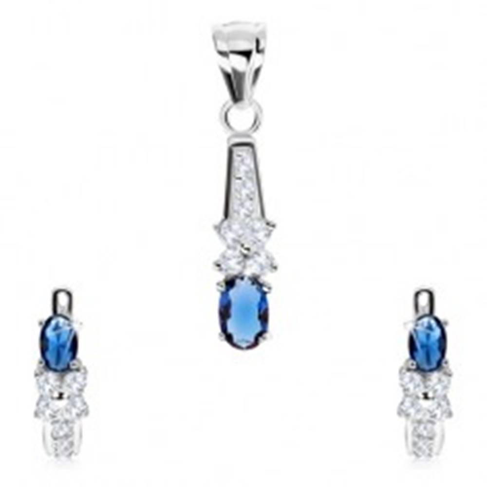 Šperky eshop Strieborná sada 925 - náušnice a prívesok, zirkónový kvet, tmavomodrý ovál