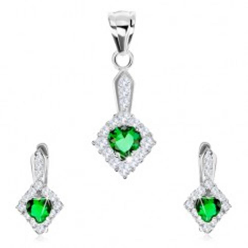 Šperky eshop Strieborná sada 925, prívesok a náušnice, srdcový zirkón, číry kosoštvorec