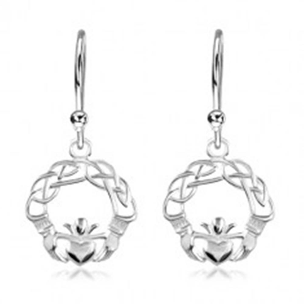 Šperky eshop Strieborné náušnice 925, zapletené línie, ruky a srdce s korunou, háčiky