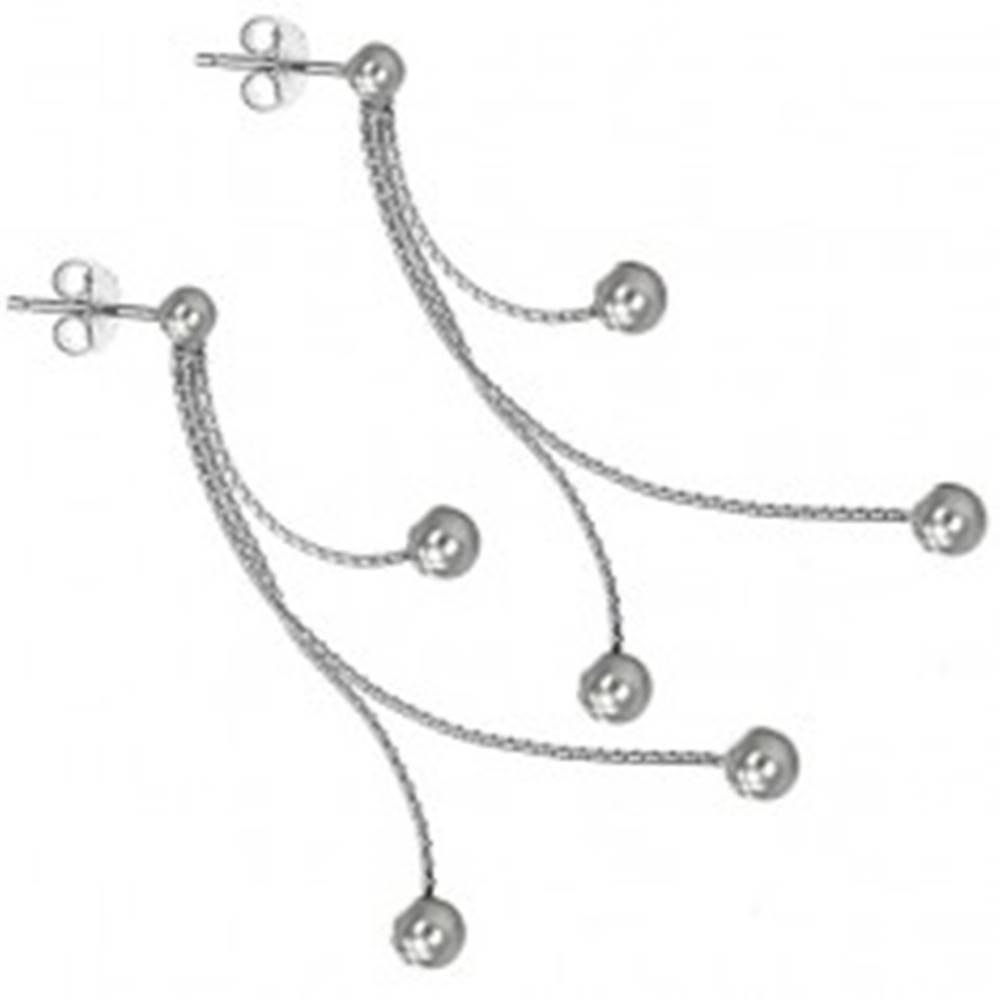 Šperky eshop Strieborné puzetové náušnice 925 - tri guličky na retiazkach
