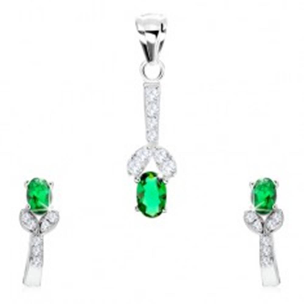 Šperky eshop Strieborný 925 set, náušnice, prívesok, zelený zirkón, rozdvojená línia