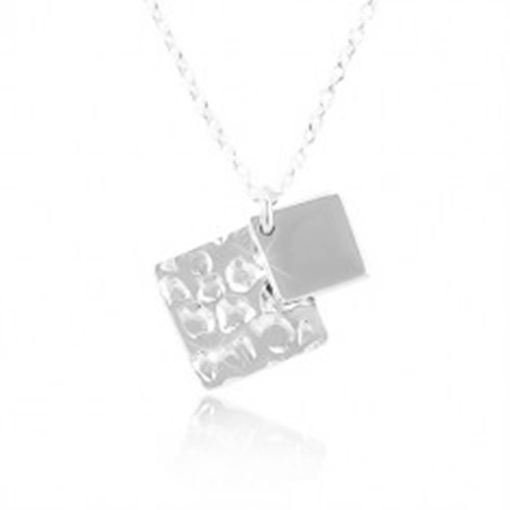 Šperky eshop Strieborný náhrdelník 925, dva kosoštvorce, retiazka z oválnych očiek