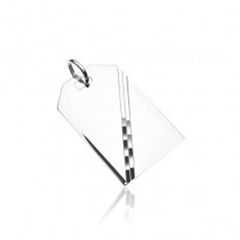 Šperky eshop Strieborný prívesok 925 - zrkadlovo lesklá tabuľka s diagonálnou líniou