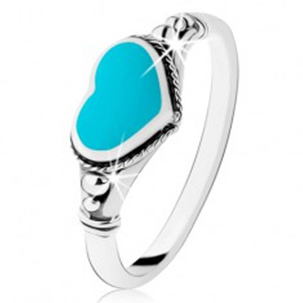 Šperky eshop Strieborný prsteň 925, patinovaný, srdiečko z tyrkysu, guličky - Veľkosť: 49 mm