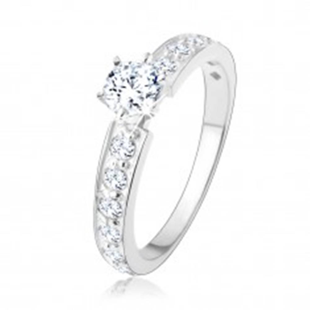 Šperky eshop Trblietavý zásnubný prsteň, striebro 925, číre zirkónové línie, okrúhly zirkón - Veľkosť: 49 mm