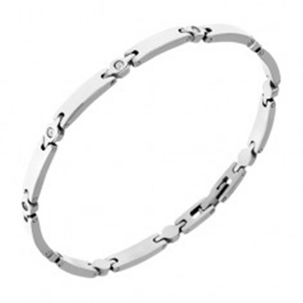 Šperky eshop Úzky oceľový náramok z lesklých článkov, malé zirkóny