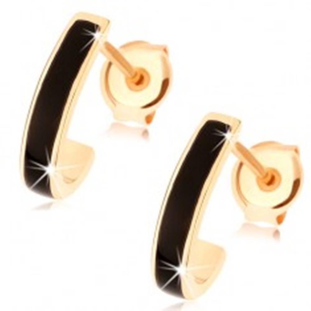 Šperky eshop Zlaté náušnice 375 - lesklý asymetrický oblúk, pásik čiernej glazúry