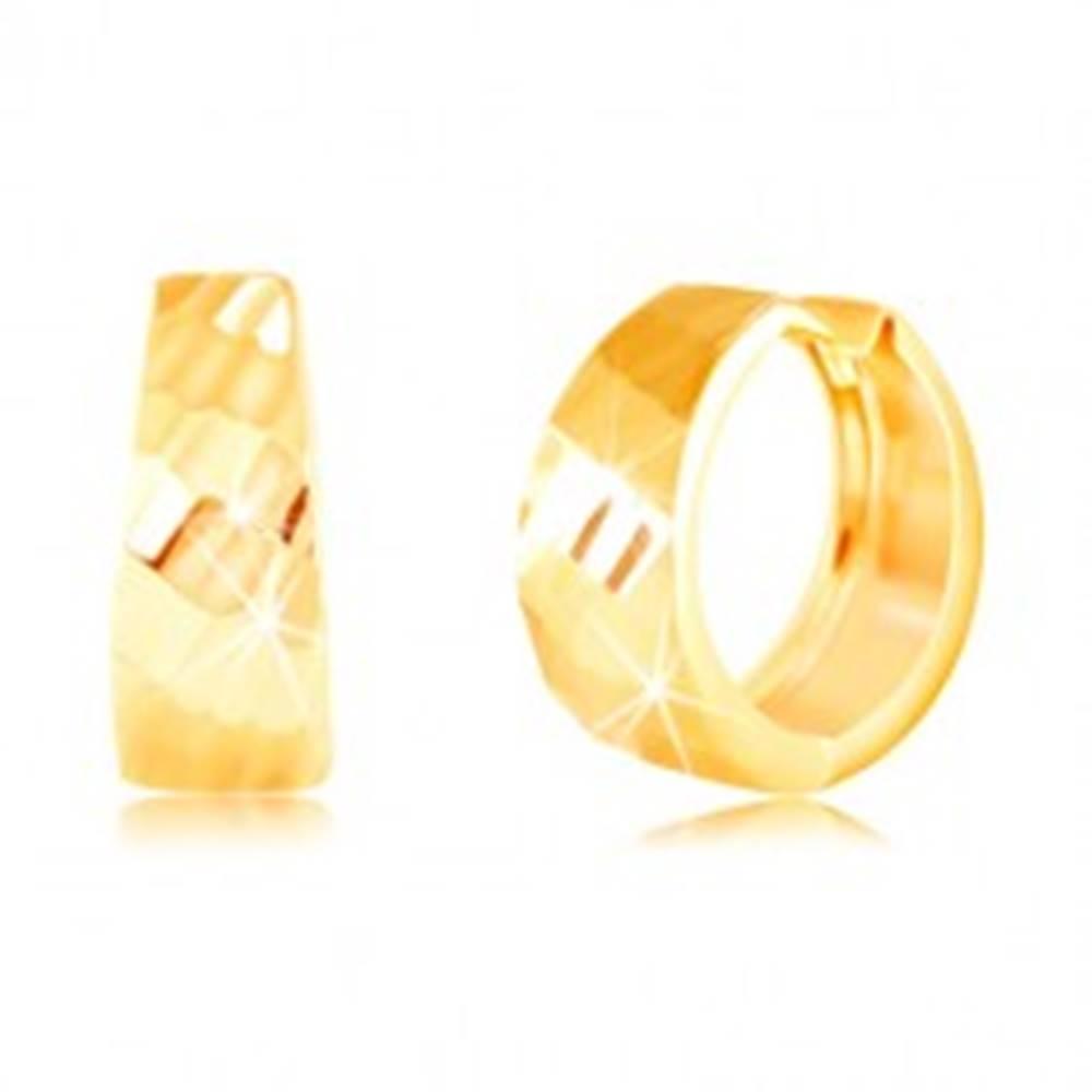 Šperky eshop Zlaté náušnice 585 - lesklý rozšírený krúžok, ligotavý brúsený povrch