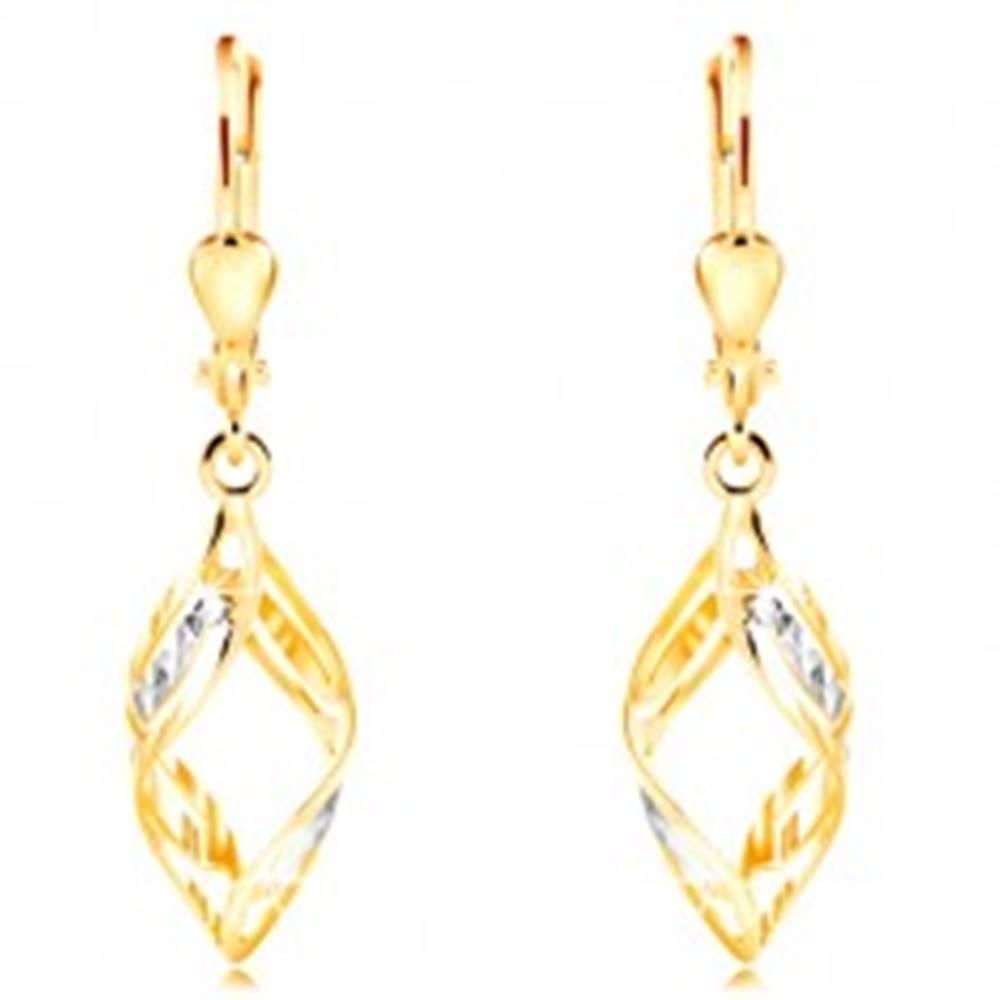Šperky eshop Zlaté náušnice 585 - širšie dvojfarebné vlnky zdobené výrezmi