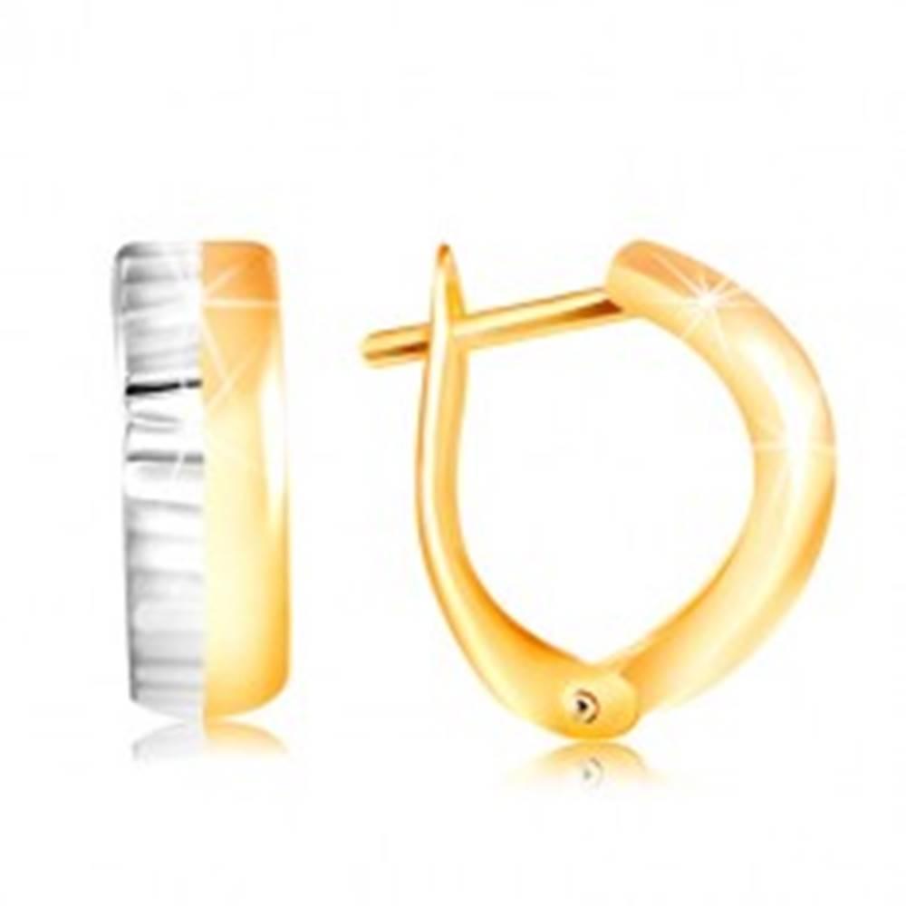Šperky eshop Zlaté náušnice 585 - vypuklý oblúk zo žltého a bieleho zlata, rovné zárezy