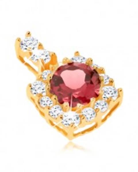 Šperky eshop Prívesok zo žltého 14K zlata - štvorcový zirkónový obrys, okrúhly červený granát