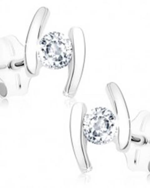 Šperky eshop Puzetové náušnice z bieleho 9K zlata - dva oblúčiky, okrúhly číry zirkón