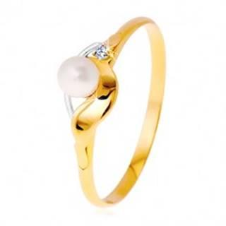 Diamantový prsteň zo 14K zlata, dvojfarebné vlnky, číry briliant a biela perla - Veľkosť: 49 mm