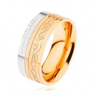 Lesklý prsteň z ocele 316L, zlatá a strieborná farba, špirála, had, zárezy - Veľkosť: 54 mm