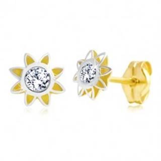 Náušnice v 14K zlate - dvojfarebný kvet so špicatými lupeňmi a zirkónom