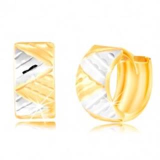 Náušnice v 14K zlate - dvojfarebný širší krúžok s trojuholníkmi a zárezmi