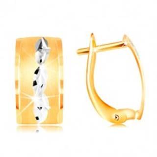 Náušnice v 14K zlate - matný pás so zrnkami z bieleho zlata a zárezov