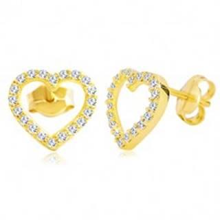 Náušnice v žltom 14K zlate - obrys srdca zdobený čírymi zirkónmi