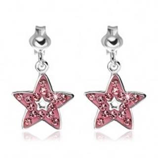 Náušnice zo striebra 925 - prívesok ružová hviezda so zirkónmi