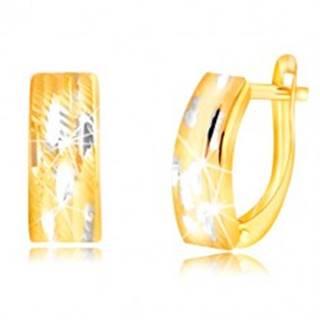 Náušnice zo zlata 585 - lesklý dvojfarebný oblúk so zárezmi
