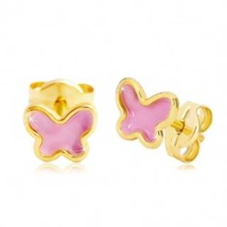 Náušnice zo žltého 14K zlata, motýlik s ružovou glazúrou, puzetky