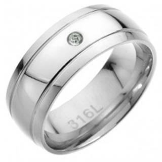 Oceľový prsteň - dva rovnobežné pásy, v strede číry zirkón - Veľkosť: 57 mm