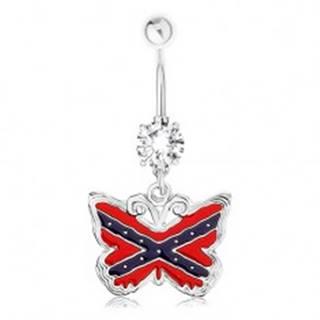 Piercing do pupku, oceľ 316L, motýľ, motív americkej južanskej vlajky