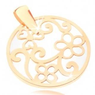 Prívesok v žltom 9K zlate - kontúra kruhu s ornamentami, perleťový podklad