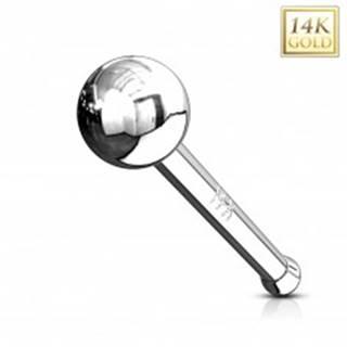 Rovný zlatý 14K piercing do nosa - lesklá hladká gulička, biele zlato - Hrúbka piercingu: 0,8 mm