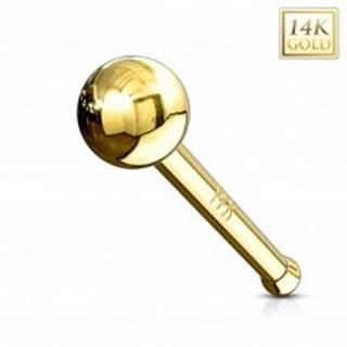 Rovný zlatý 14K piercing do nosa - lesklá hladká gulička, žlté zlato - Hrúbka piercingu: 0,8 mm