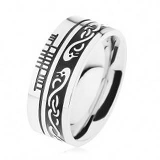 Široký prsteň, oceľ 316L, čierny pruh, keltský vzor, lem striebornej farby - Veľkosť: 54 mm