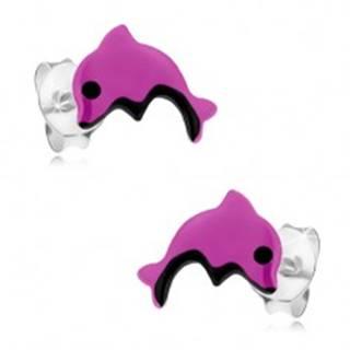 Strieborné náušnice 925, malý fialový delfín, čierne očko a bruško, glazúra