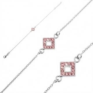 Strieborný náramok 925 - retiazka so štvorcom a ružovými zirkónmi