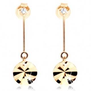 Zlaté náušnice 375 - kruh visiaci na paličke, lúčovité ryhy, zirkón
