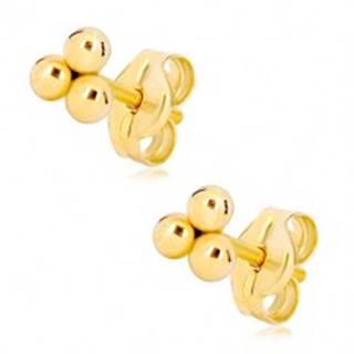 Zlaté puzetové náušnice 585 - tri malé lesklé guľôčky