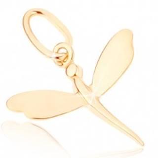 Zlatý prívesok 375 - malá ligotavá vážka so zrkadlovolesklými krídlami