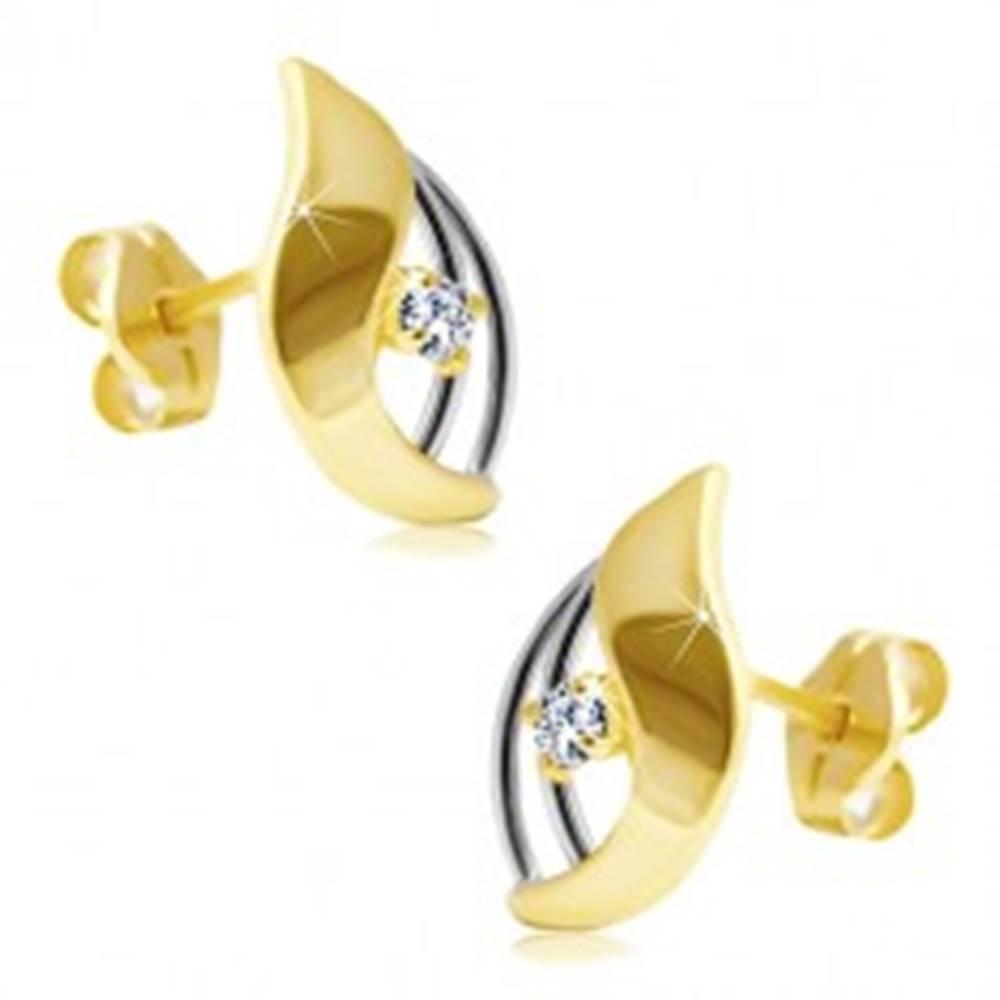 Šperky eshop Diamantové náušnice v 14K zlate - žiarivý číry briliant v dvojfarebnej kvapke