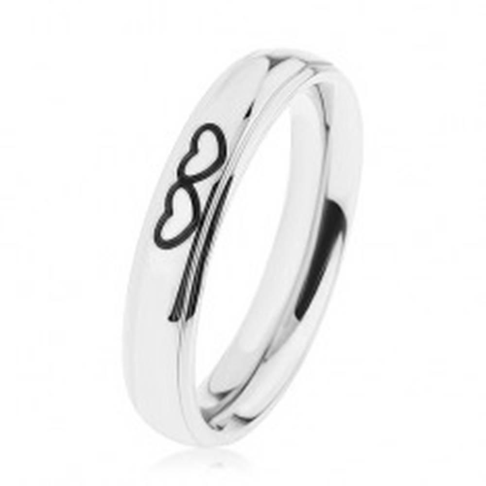 Šperky eshop Lesklá oceľová obrúčka striebornej farby, obrysy dvoch srdiečok - Veľkosť: 49 mm